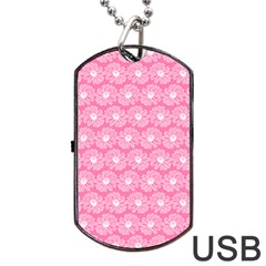 Pink Gerbera Daisy Vector Tile Pattern Dog Tag USB Flash (Two Sides)