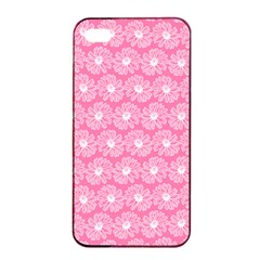 Pink Gerbera Daisy Vector Tile Pattern Apple iPhone 4/4s Seamless Case (Black)