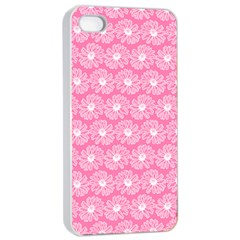 Pink Gerbera Daisy Vector Tile Pattern Apple iPhone 4/4s Seamless Case (White)