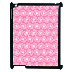 Pink Gerbera Daisy Vector Tile Pattern Apple Ipad 2 Case (black)