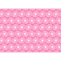 Pink Gerbera Daisy Vector Tile Pattern Birthday Cake 3d Greeting Card (7x5)