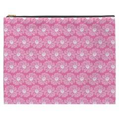 Pink Gerbera Daisy Vector Tile Pattern Cosmetic Bag (xxxl)