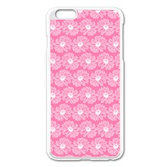 Pink Gerbera Daisy Vector Tile Pattern Apple Iphone 6 Plus Enamel White Case