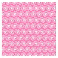 Pink Gerbera Daisy Vector Tile Pattern Large Satin Scarf (square)