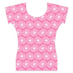 Pink Gerbera Daisy Vector Tile Pattern Women s Cap Sleeve Top