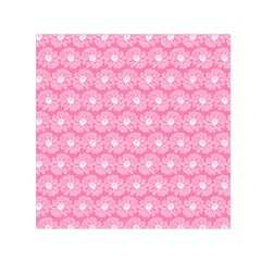 Pink Gerbera Daisy Vector Tile Pattern Small Satin Scarf (Square)