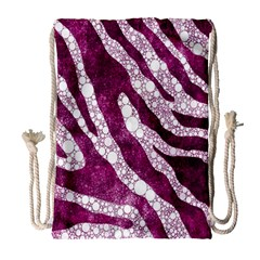 Purple Zebra Print Bling Pattern  Drawstring Bag (large)