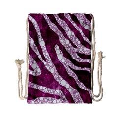 Purple Zebra Print Bling Pattern  Drawstring Bag (small)