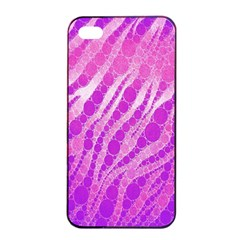 Florescent Pink Zebra Pattern  Apple iPhone 4/4s Seamless Case (Black)