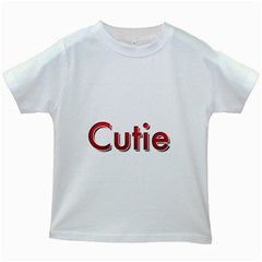 Cutie Red Lettering  Kids White T-Shirts