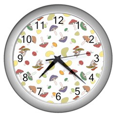 Mushrooms Pattern Wall Clocks (silver)