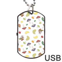 Mushrooms Pattern Dog Tag USB Flash (Two Sides)