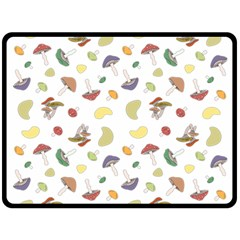 Mushrooms Pattern Double Sided Fleece Blanket (large)