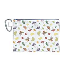 Mushrooms Pattern Canvas Cosmetic Bag (M)