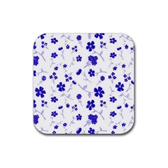 Sweet Shiny Flora Blue Rubber Coaster (square)