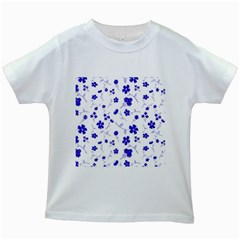 Sweet Shiny Flora Blue Kids White T Shirts