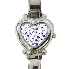 Sweet Shiny Flora Blue Heart Italian Charm Watch