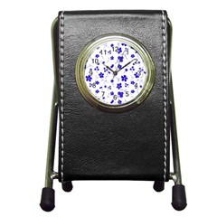Sweet Shiny Flora Blue Pen Holder Desk Clocks