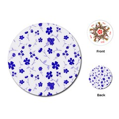 Sweet Shiny Flora Blue Playing Cards (round)
