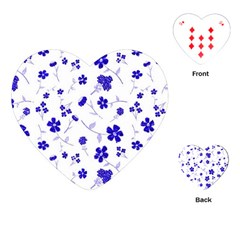 Sweet Shiny Flora Blue Playing Cards (heart)