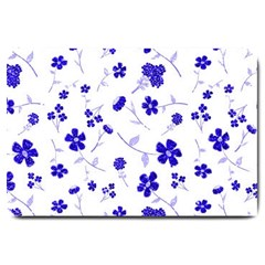 Sweet Shiny Flora Blue Large Doormat