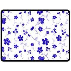 Sweet Shiny Flora Blue Fleece Blanket (Large)