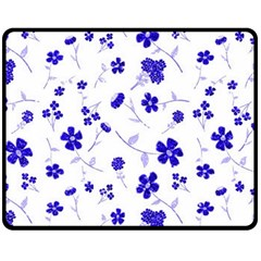 Sweet Shiny Flora Blue Fleece Blanket (medium)