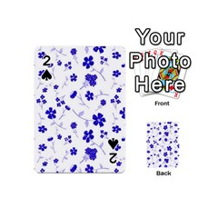 Sweet Shiny Flora Blue Playing Cards 54 (Mini)