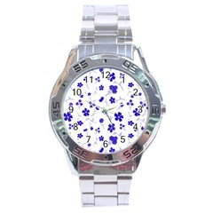 Sweet Shiny Flora Blue Stainless Steel Men s Watch