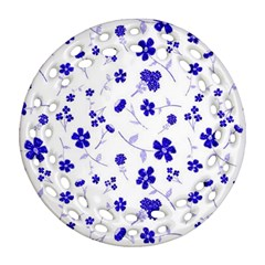 Sweet Shiny Flora Blue Round Filigree Ornament (2Side)