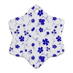 Sweet Shiny Flora Blue Snowflake Ornament (2-Side)