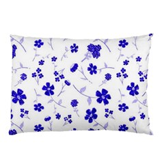 Sweet Shiny Flora Blue Pillow Cases (Two Sides)