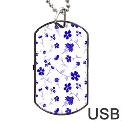 Sweet Shiny Flora Blue Dog Tag USB Flash (Two Sides)