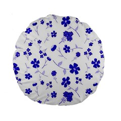 Sweet Shiny Flora Blue Standard 15  Premium Round Cushions