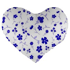 Sweet Shiny Flora Blue Large 19  Premium Flano Heart Shape Cushions