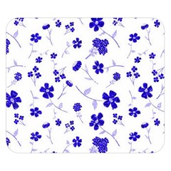 Sweet Shiny Flora Blue Double Sided Flano Blanket (Small)