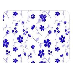Sweet Shiny Flora Blue Double Sided Flano Blanket (Large)