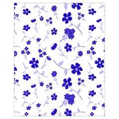 Sweet Shiny Flora Blue Drawstring Bag (Small)
