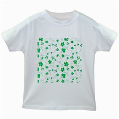 Sweet Shiny Floral Green Kids White T Shirts