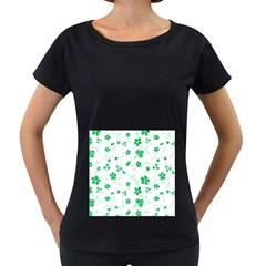 Sweet Shiny Floral Green Women s Loose-Fit T-Shirt (Black)