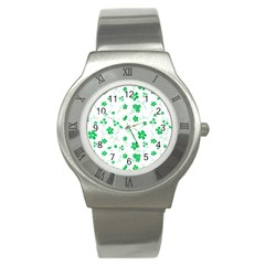 Sweet Shiny Floral Green Stainless Steel Watches