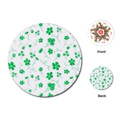 Sweet Shiny Floral Green Playing Cards (Round)