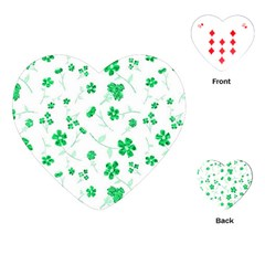 Sweet Shiny Floral Green Playing Cards (Heart)