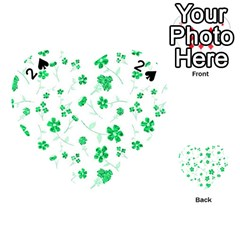 Sweet Shiny Floral Green Playing Cards 54 (heart)