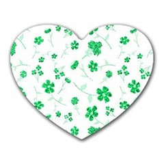 Sweet Shiny Floral Green Heart Mousepads