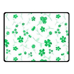 Sweet Shiny Floral Green Fleece Blanket (Small)