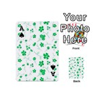 Sweet Shiny Floral Green Playing Cards 54 (Mini)  Front - SpadeA