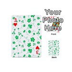 Sweet Shiny Floral Green Playing Cards 54 (Mini)  Front - Heart3