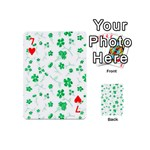Sweet Shiny Floral Green Playing Cards 54 (Mini)  Front - Heart7