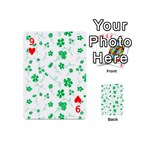 Sweet Shiny Floral Green Playing Cards 54 (Mini)  Front - Heart9
